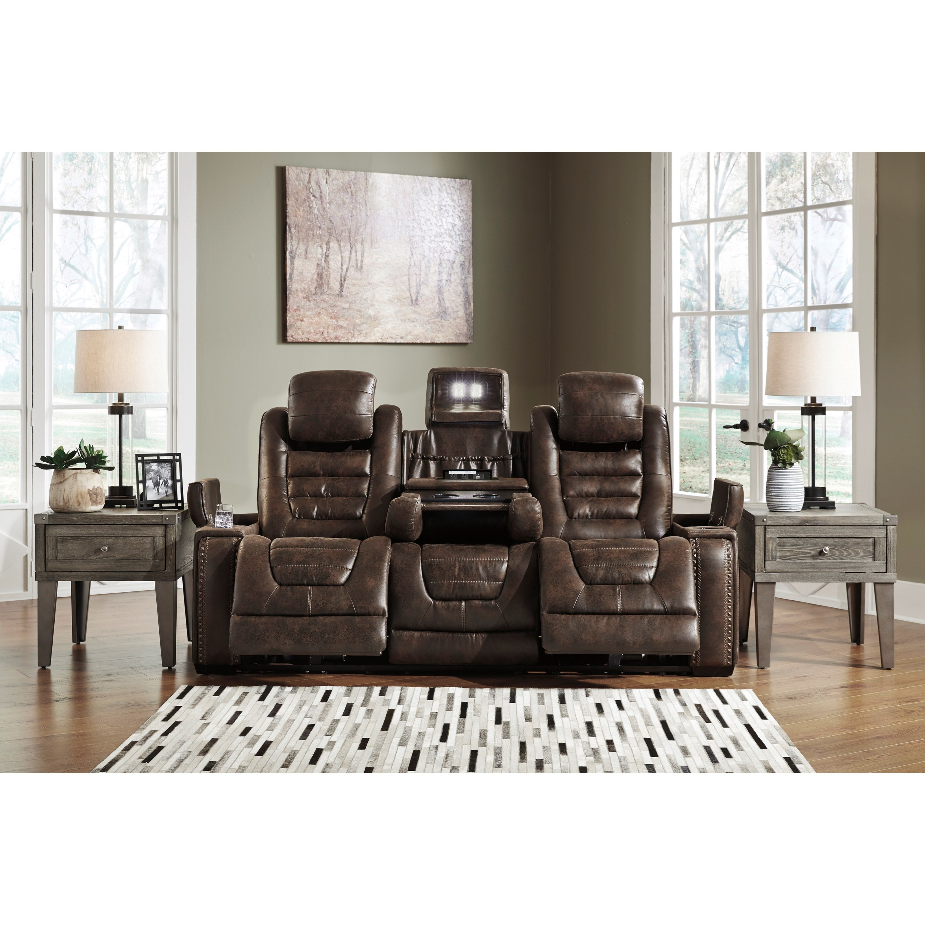 Signature Design By Ashley Game Zone Faux Leather Power Reclining Sofa W Adjustable Headrests
