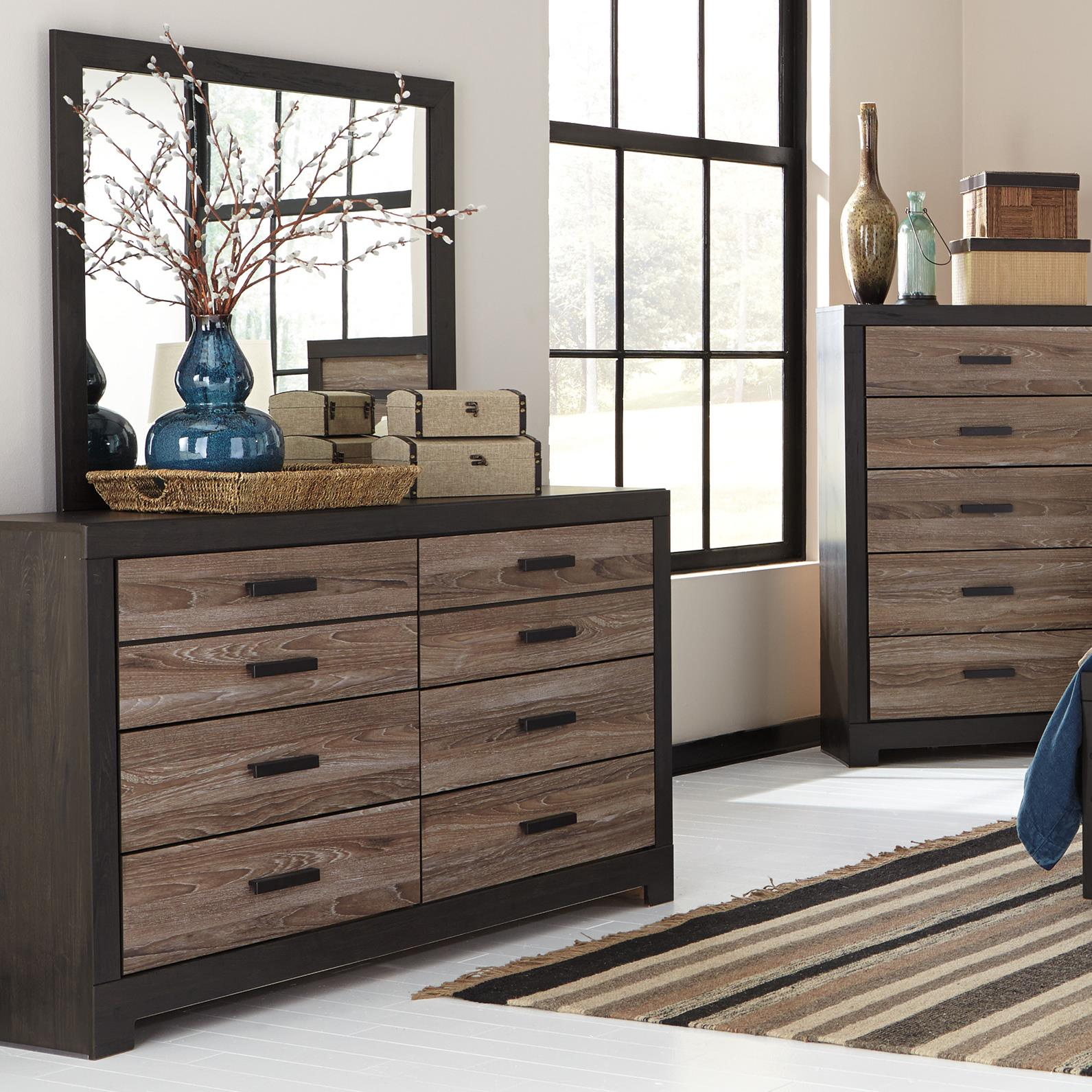 Ashley Signature Design Harlinton Rustic Two Tone Dresser