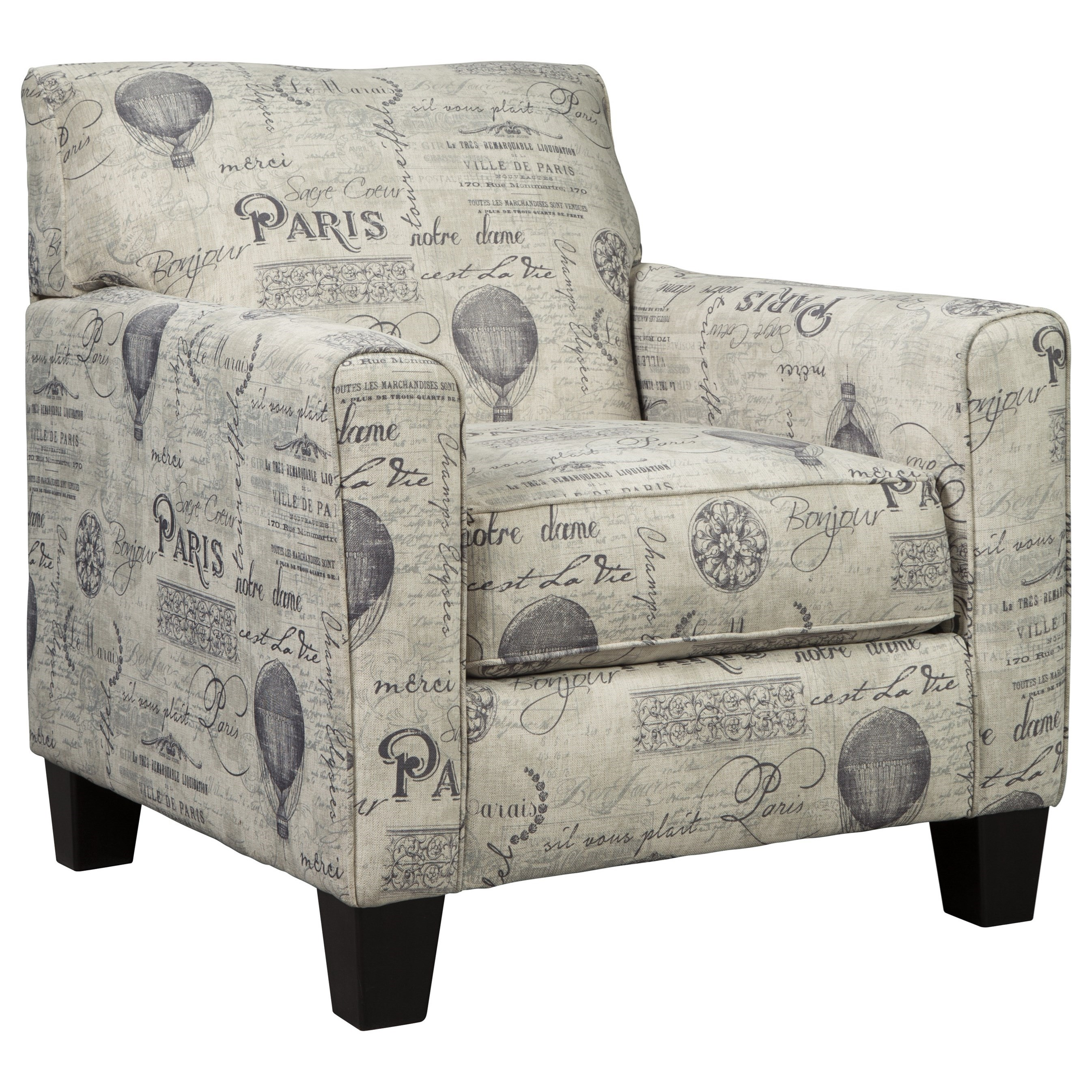 Ashley Signature Design Nesso A3000012 Accent Chair With Paris Script On Linen Like Fabric Dunk Bright Furniture Upholstered Chairs