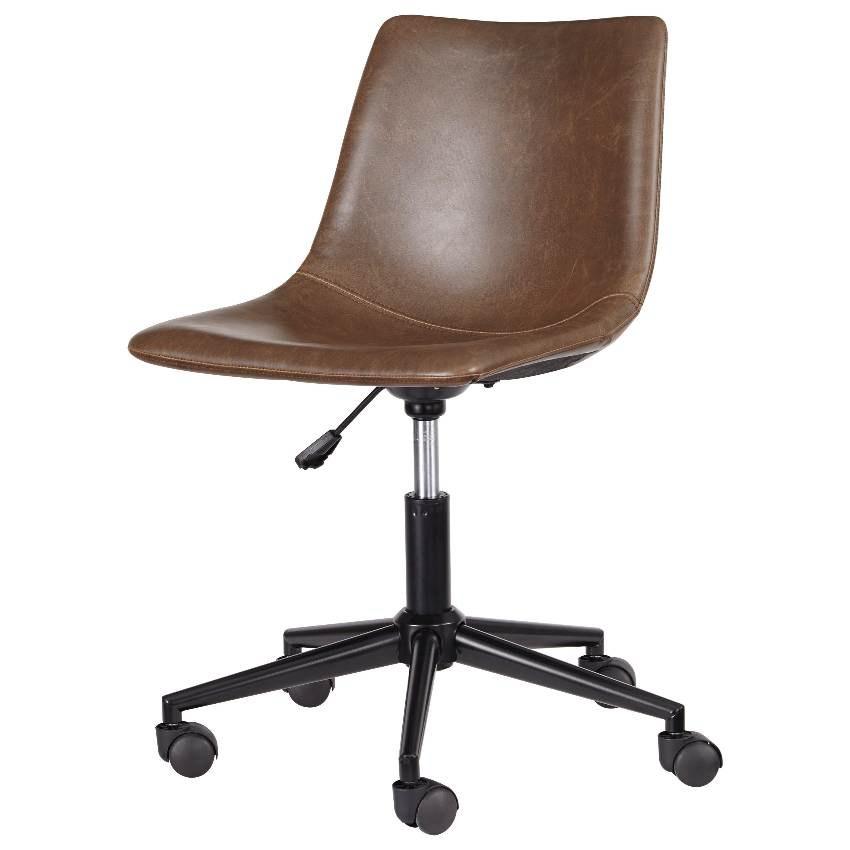 Ashley Signature Design Office Chair Program H200 01 Home Office Swivel Desk Chair In Brown Faux Leather Dunk Bright Furniture Office Task Chairs