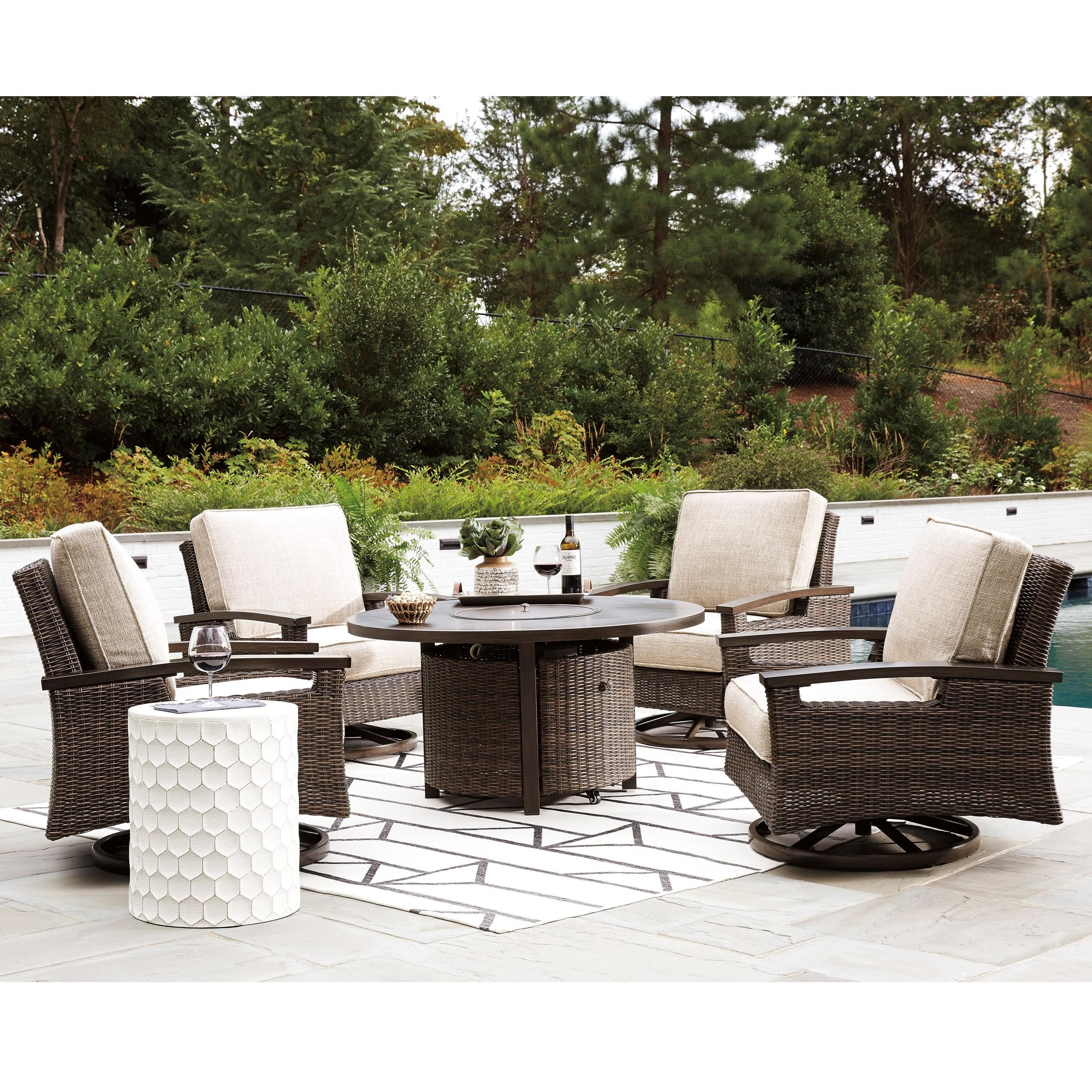 paradise trail outdoor fire pit table set