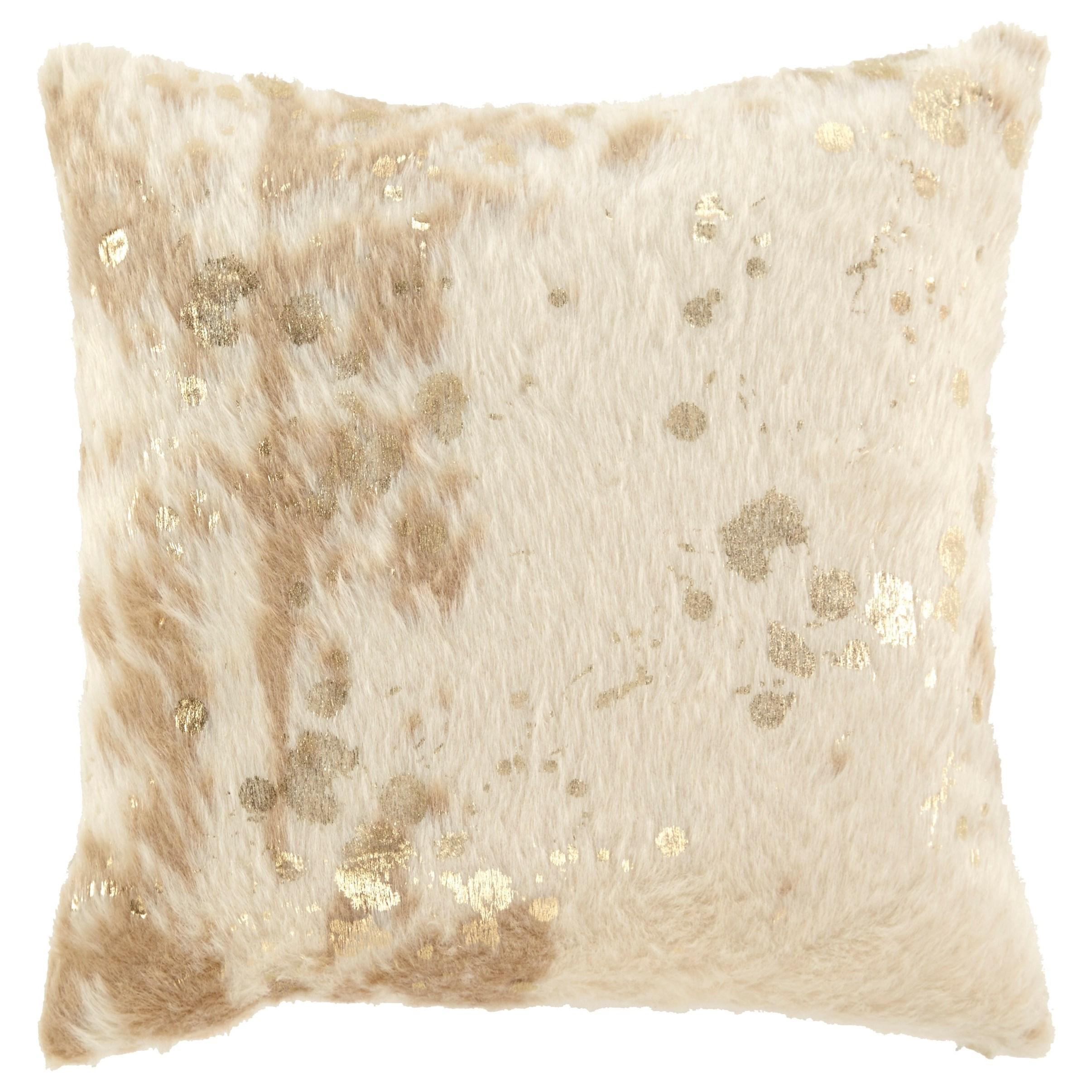 pillows landers cream gold faux fur pillow