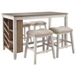 Vendor 3 Skempton 5 Piece Rectangular Counter Table W Storage Set Becker Furniture Pub Table And Stool Sets