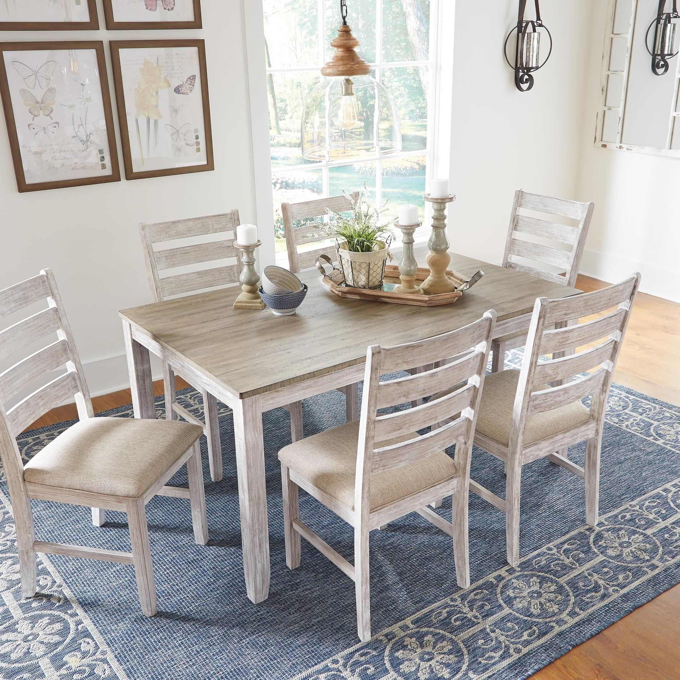 Signature Design By Ashley Skempton Relaxed Vintage Seven Piece Dining Set With Two Tone Finish
