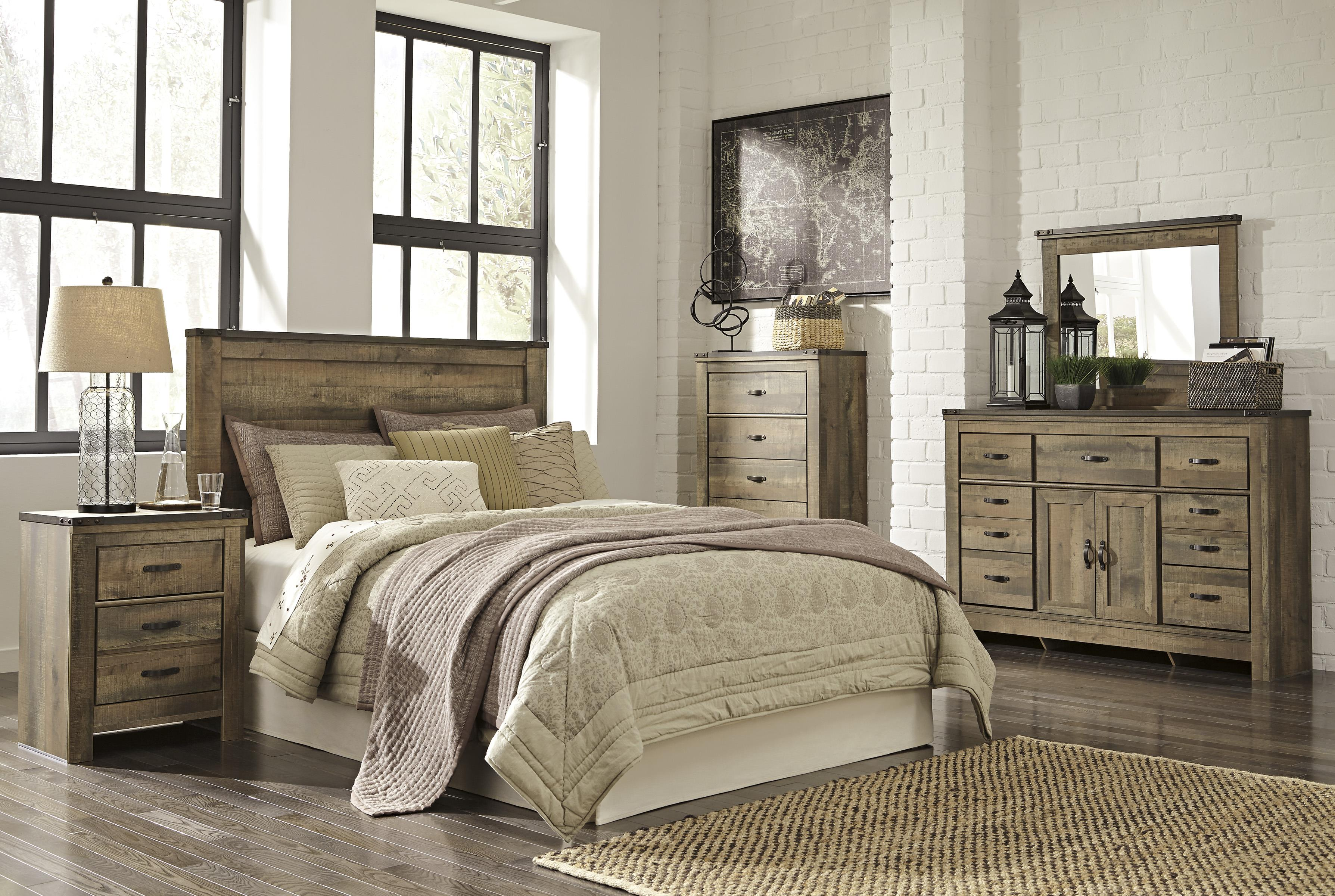 Signature Design By Ashley Trinell Rustic Look Queen Panel