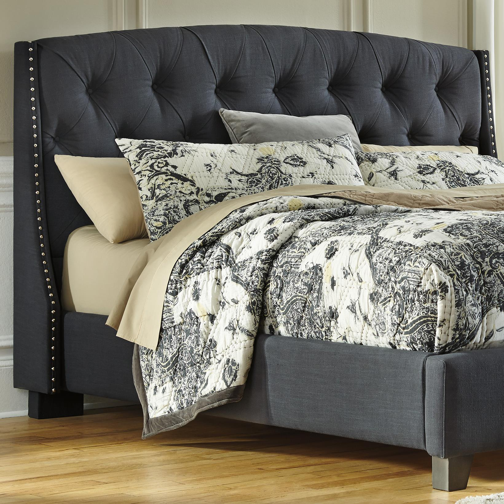 Ashley Furniture Signature Design Kasidon B600 558 King California King Upholstered Headboard In Dark Gray With Tufting And Nailhead Trim Del Sol Furniture Headboards