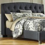 Ashley Furniture Signature Design Kasidon B600 558 King California King Upholstered Headboard In Dark Gray With Tufting And Nailhead Trim Del Sol Furniture Headboards