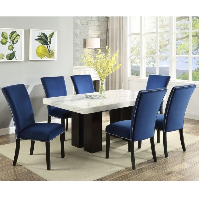 Steve Silver Camila Cm420wb Wt 6xsbn 7 Piece Dining Set With Marble Table Top Dunk Bright Furniture Dining 7 Or More Piece Sets