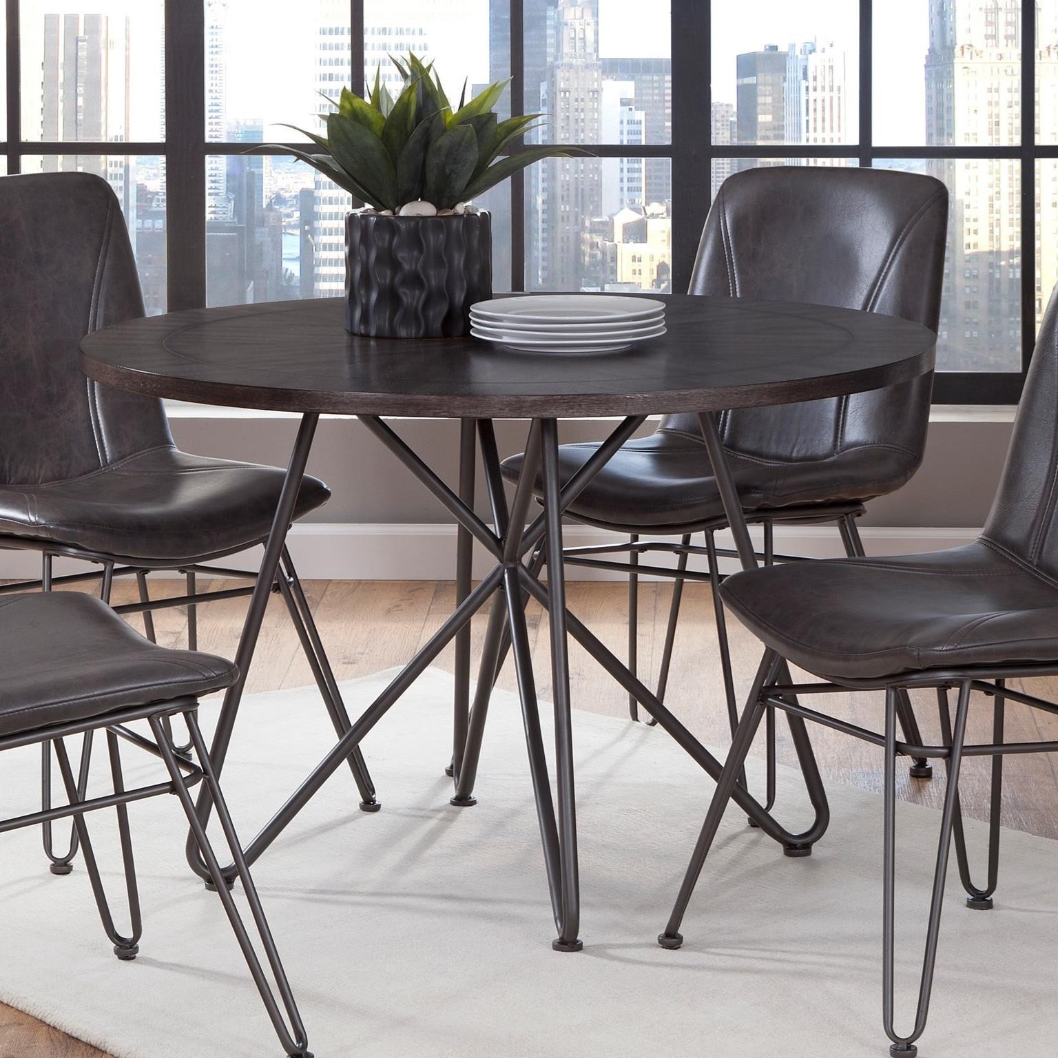 Steve Silver Derek 45 Round Industrial Dining Table With Iron Base Wayside Furniture Dining Tables