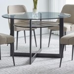 Steve Silver Olson Ss Os480db Gt Contemporary Round Glass Dining Table With Iron And Birch Base Dunk Bright Furniture Dining Tables