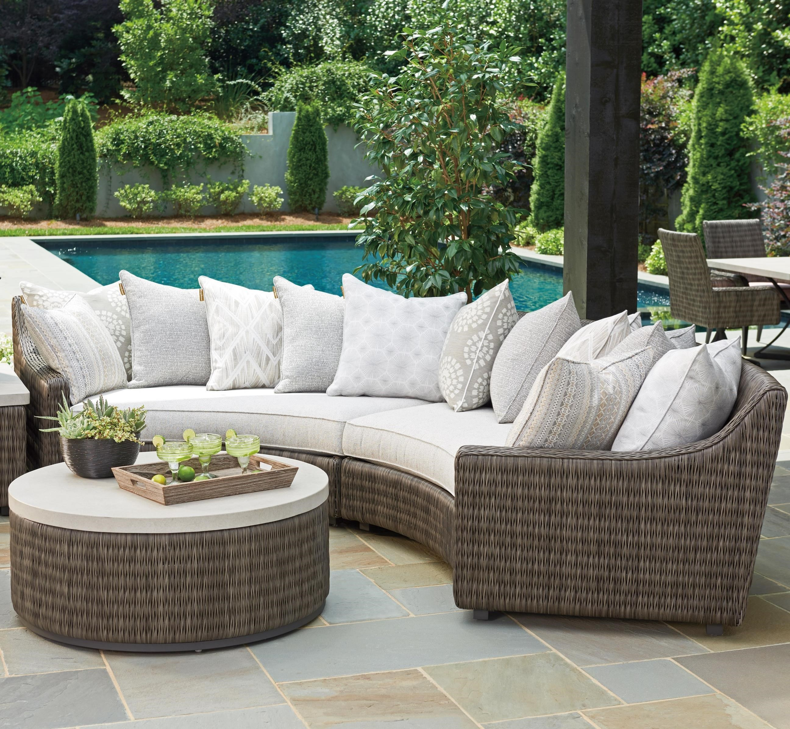 Tommy Bahama Outdoor Living Cypress Point Ocean Terrace 4 Seat Outdoor Curved Sectional Sofa With Weatherproof Cushions And Scatterback Pillows Baer S Furniture Outdoor Sectional Sofa Groups