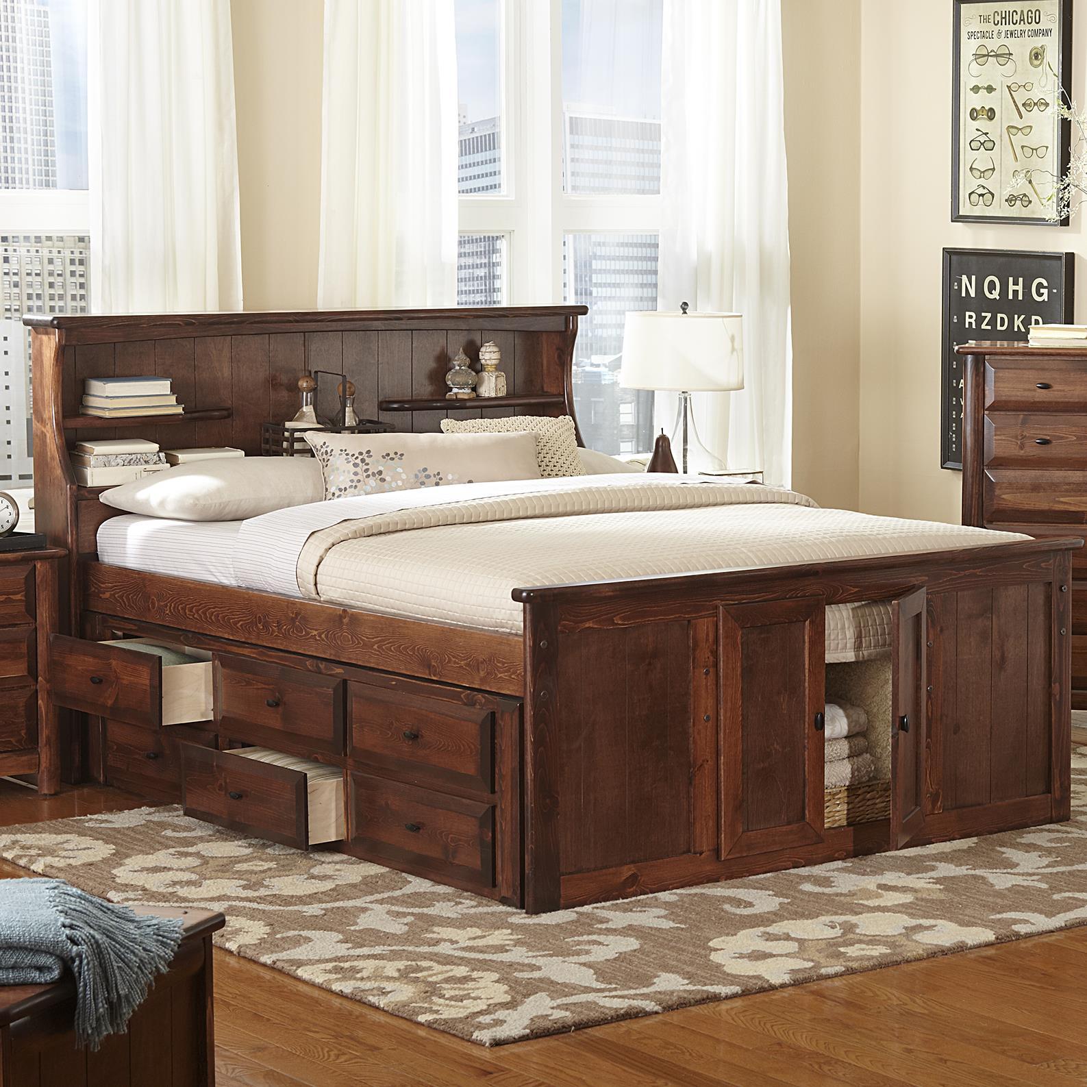 Trendwood Laguna Queen Book Case Bed W Footboard Storage