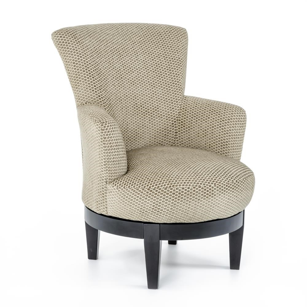 Best Home Furnishings Chairs Swivel Barrel Justine Swivel Chair With Chic Flared Arms Baer