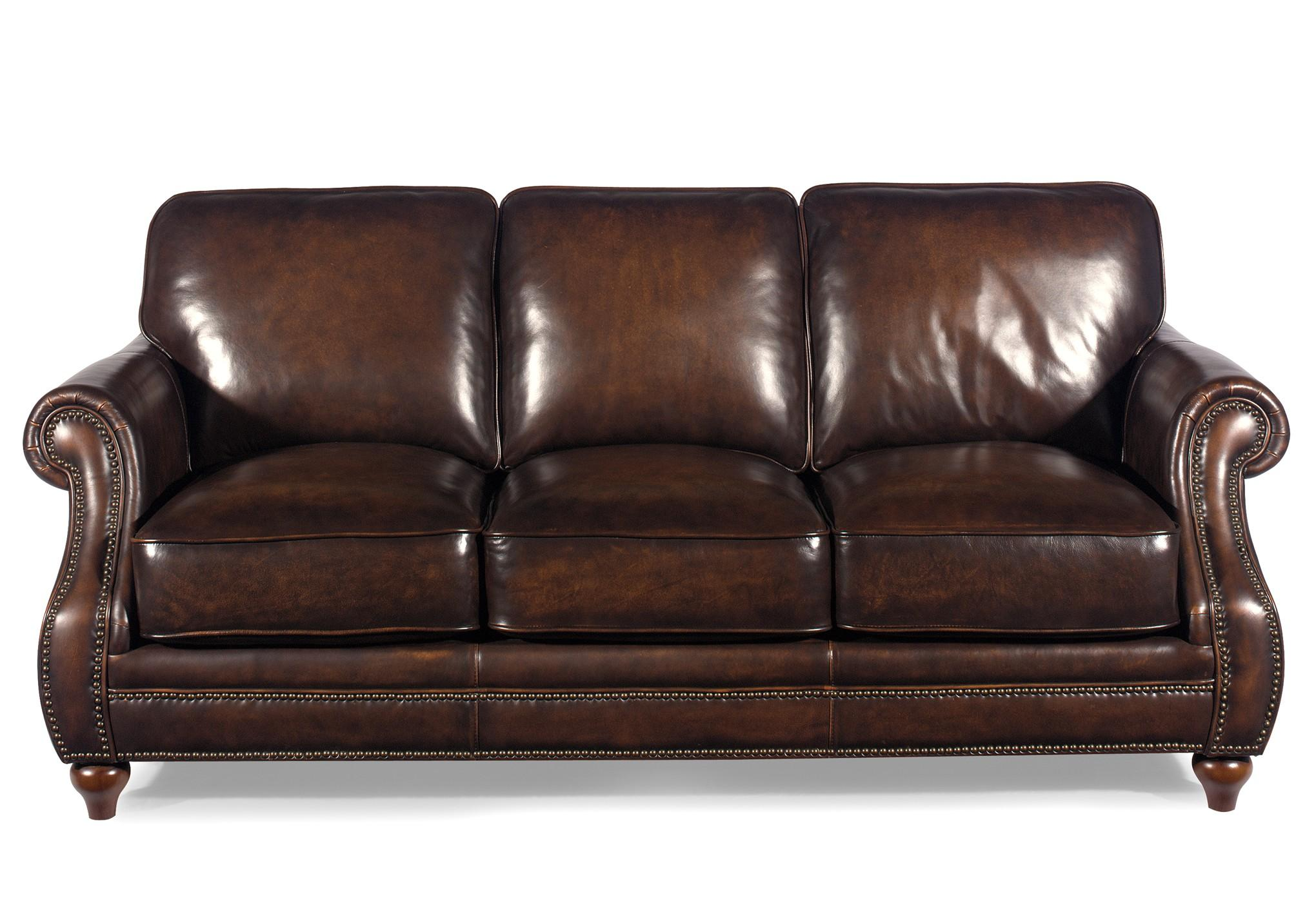 Hickorycraft L121550 Traditional Leather Sofa With Rolled