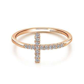 Cross Rings   Gabriel   Co  14k Rose Gold Faith Cross Ladies Ring