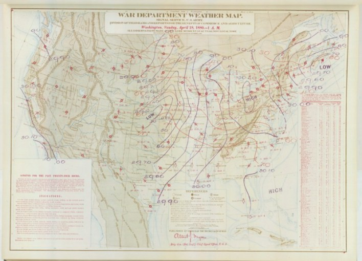 Historic Weather Maps  Tornado Outbreak of April 18  1880 This was a weather map drawn back on April 18  1880  showing the weather at  1AM Eastern for every weather station in the United States