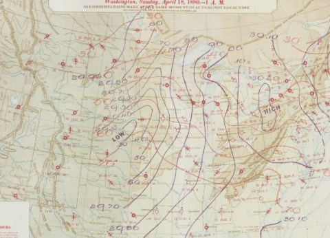HD Decor Images » Historic Weather Maps  Tornado Outbreak of April 18  1880 This was a weather map drawn back on April 18  1880  showing the weather at  1AM Eastern for every weather station in the United States