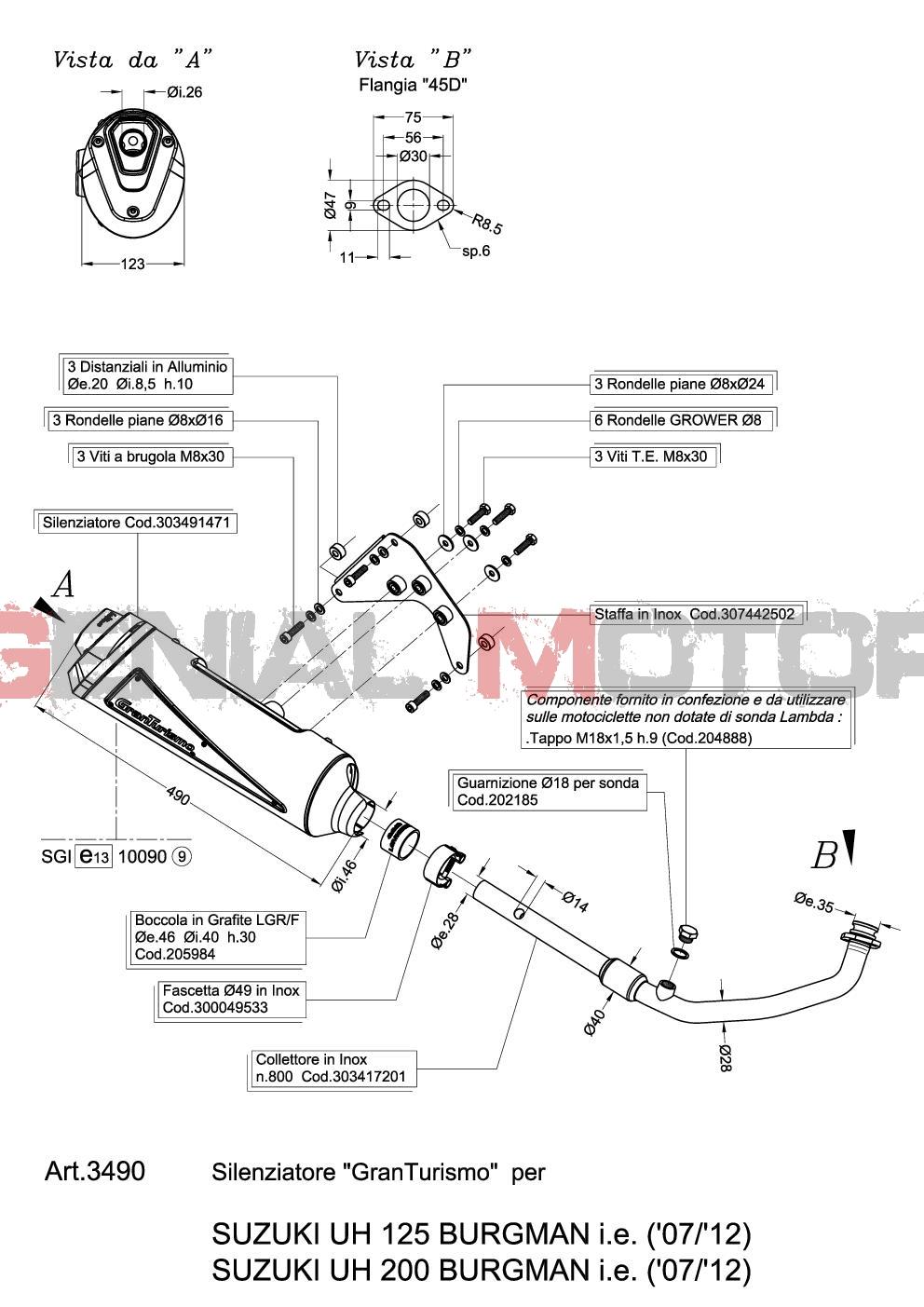 complete exhaust system leovince granturismo suzuki uh 200 burgman 2007 2013