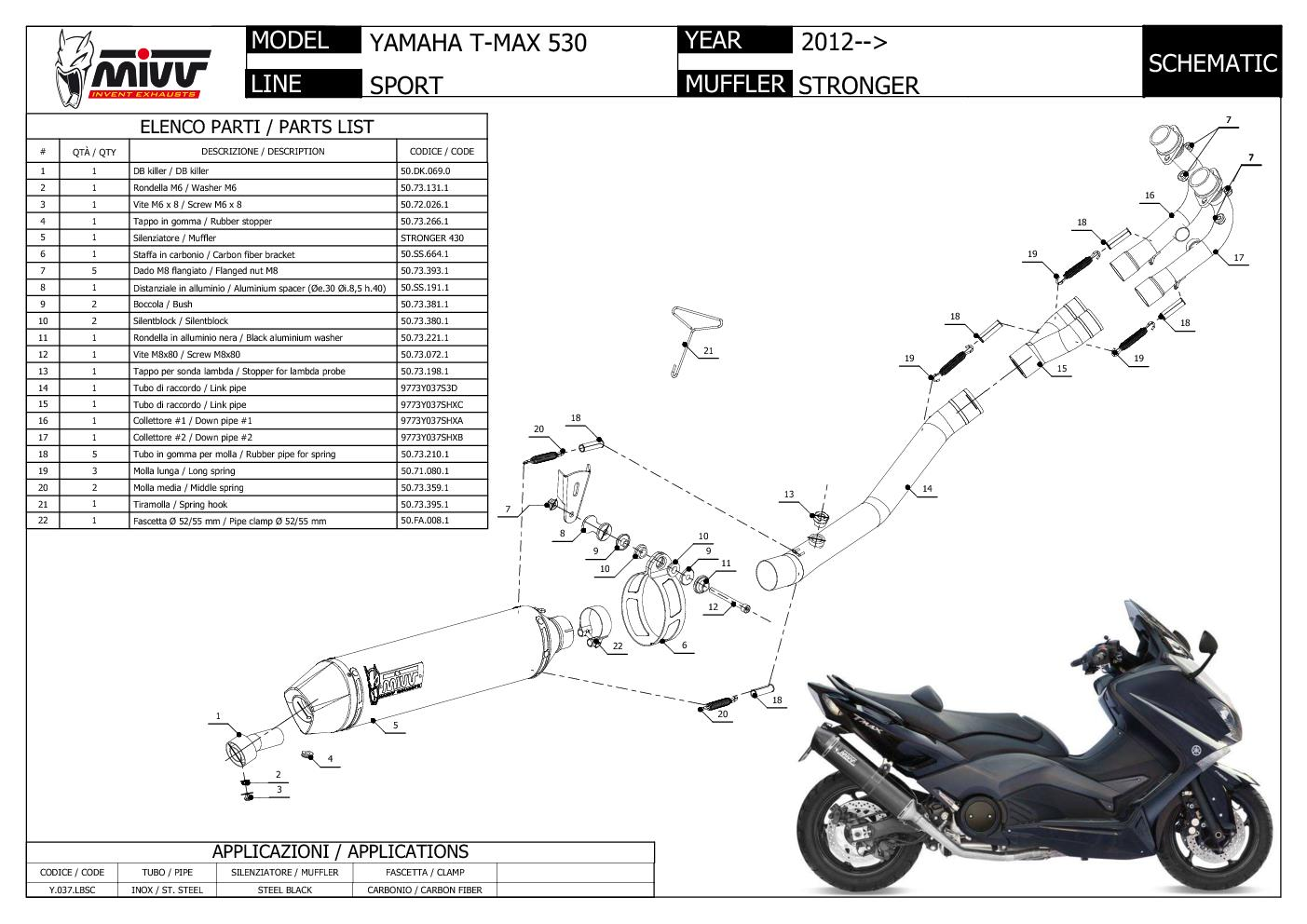 Mivv Complete Exhaust Stronger Black Steel Yamaha T Max