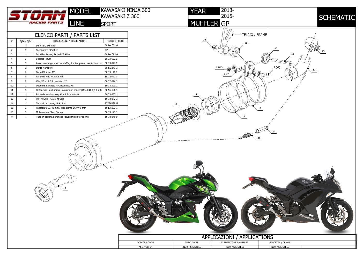 Exhaust Storm By Mivv Muffler Gp Nero Steel For Kawasaki