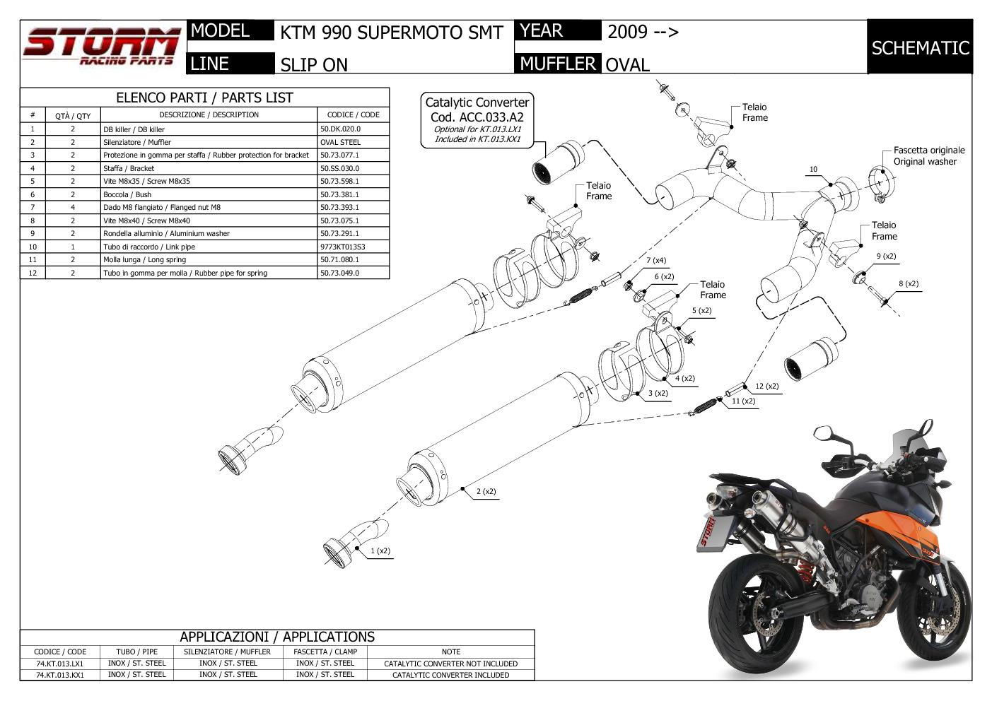 Exhaust Storm By Mivv Mufflers Oval Steel For Ktm 990