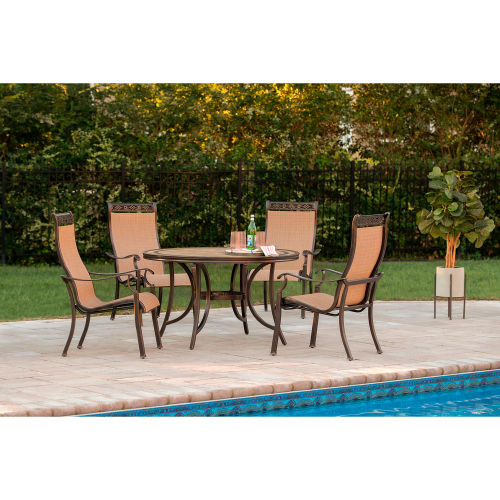 hanover monaco 5 piece outdoor dining set with 4 sling chairs and 51 tile top table