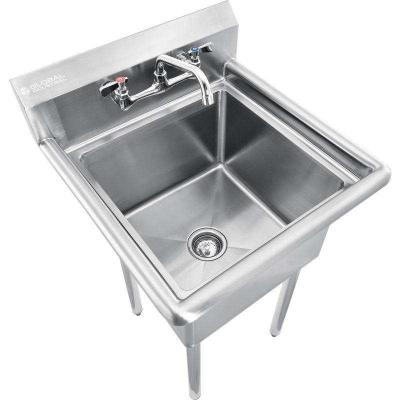 global industrial stainless steel utility sink w faucet 10 backsplash 18 x18 x12 deep