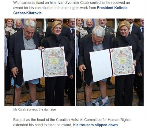 The Telegraph reports on a wardrobe malfunction in the presence of President Grabar-Kitarovic