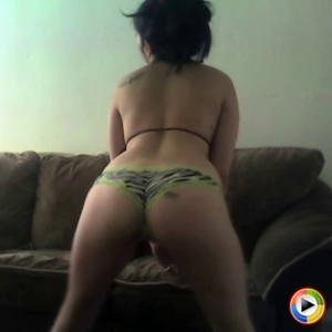 Watch as perfect girl next door babe Melanie shakes her big round ass in her zebra print lace trimmed panties