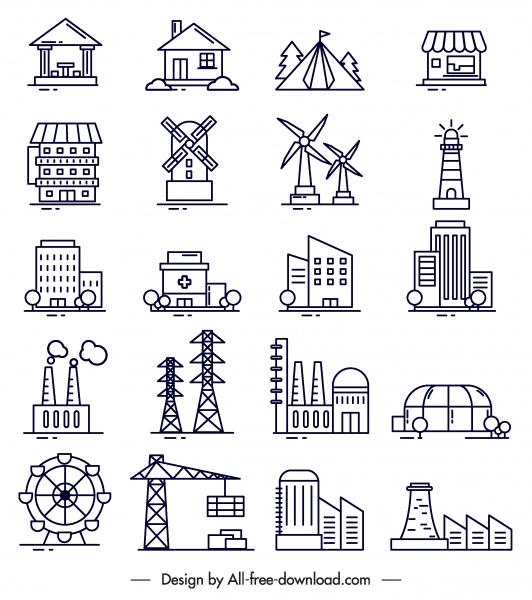 Konstruksi Ikon Hitam Putih Datar Simbol Sketsa Vektor Icon Vektor