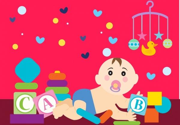 Bayi Lucu Latar Belakang Anak Bermain Main Mainan Ikon Ornamen