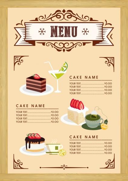 Dessert Menu Template Cake Beverages Icons Classical