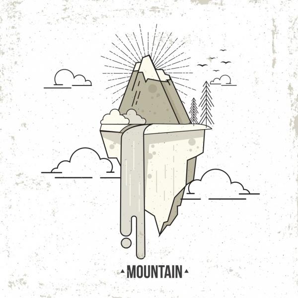 Gunung Latar Belakang Hitam Putih Sketsa Vector Latar Belakang