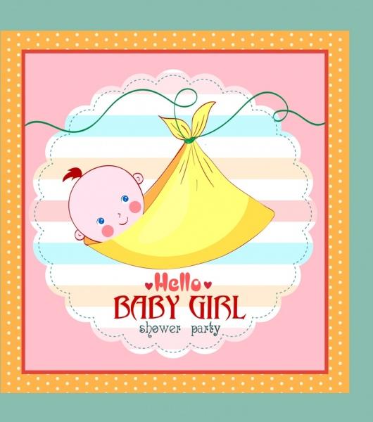 Shower Kartu Template Bayi Dibungkus Gadis Ikon Orang Orang Vektor