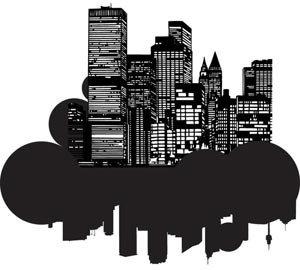 Pemandangan Indah Siluet Gedung Di Bawah Langit Hitam Gelap Vektor