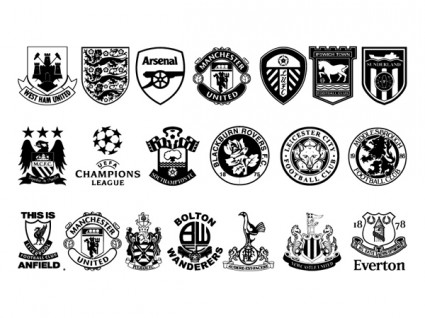 Vector Set Of Black And White Icon With Football Club It ...