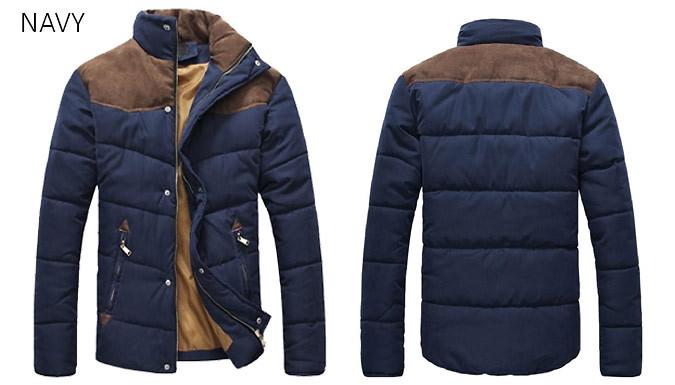 Mens Contrast Shoulder Padded Jacket - 3 Colours