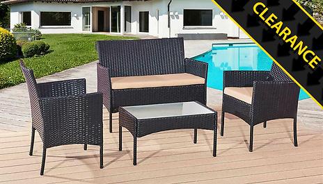 black 4 piece rattan furniture set