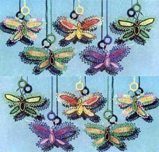 BUTTERFLY SHADE PULLS - A Vintage 1951 Crochet / Tatting Pattern - Kindle Ebook Download (digital book, e-book, decoration, decorative, butterfly, DIY, ... window shade, shade pull, window treatments)