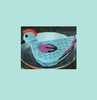 Blue Chicken Potholder. Vintage Crochet Pattern [Annotated]