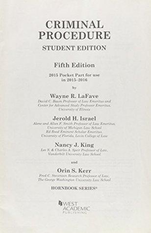 Criminal Procedure, 5th, Hornbook Series, Student Edition, 2015 Pocket Part