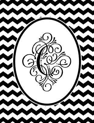 Monogram C 2018-2019 Coloring Academic Planner: Coloring Book Monthly Weekly Daily Black and White Chevron Student Calendar Planner 13 Months