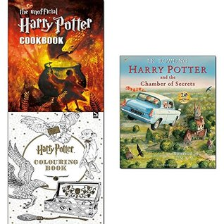 Harry potter and the chamber of secrets [hardcover], unofficial harry potter cookbook and colouring book 3 books collection set