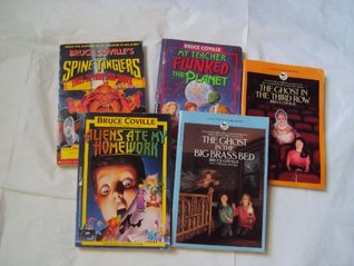 Bruce Coville Book Set : The ghost in the big brass bed; the ghost in the third row; My teacher Flunked the Planet; Aliens ate my homework; Spine Tinglers, tales to make you shiver; (Book sets for Kids)