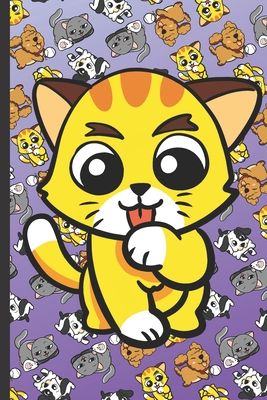 Daily and Weekly Chore Chart Notebook for Kids: Yellow Kitten Licking Paw with Cute Kittens Cats Dogs and Puppies on a Purple Background.