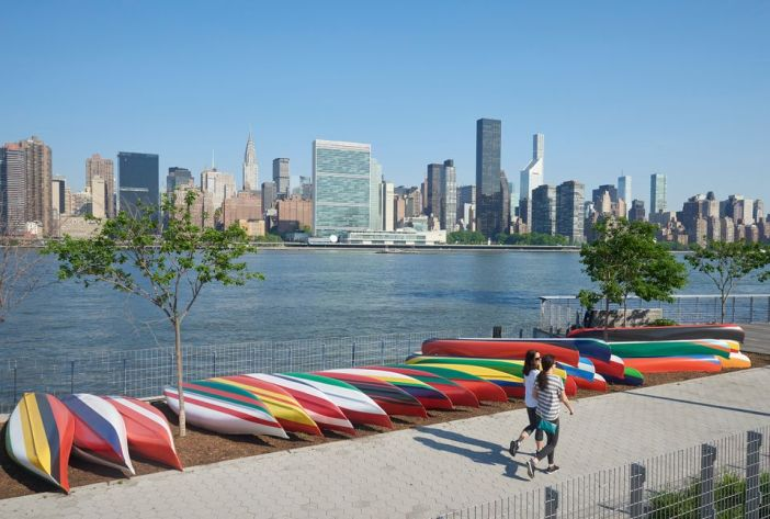 Xaviera Simmons, Convene, 2018, installation view, Hunter's Point South Park, Long Island City, New York. Aluminum canoes, paint, rope. Dimensions variable. Commissioned by SculptureCenter, New York.