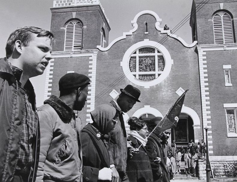 Demonstrators beginning the march from Selma to Montgomery outside Brown Chapel AME Church