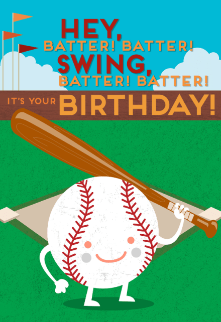 Baseball Batter Birthday Card Free Greetings Island