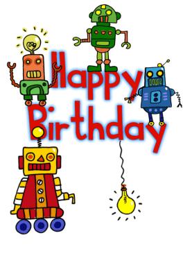 Happy Birthday Robots Free Birthday Card Greetings Island