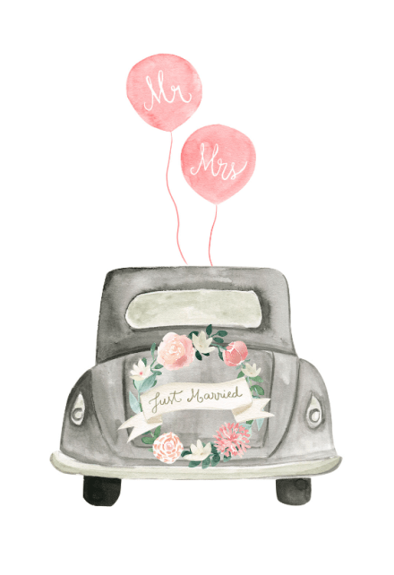 Vintage Wedding Car Free Wedding Congratulations Card Greetings Island